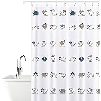 Tatkraft Funny Sheep Shower Curtain 180 X Cm Waterproof Textile Polyester 12 Rings