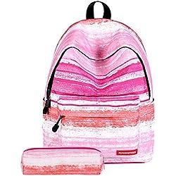 Valleycomfy medio escuela alumno lona mochila bolsas de escuela 3D impresión casual mochila con lápiz, rosa de la raya