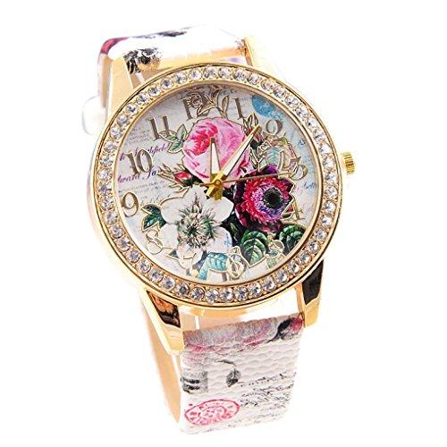 Damen Luxury Uhren, Keepwin Frauen Charme Bunt Blumen Dial Diamant Goldton Armbanduhr Analoges Quarzwerk Kunstlederuhr (C)
