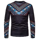 Manadlian Männer Schwarz Kapuzenpullover Herbst Winter Lässig Afrikanisch Indisch Drucken Dashiki Langarm Pullover Oben Bluse