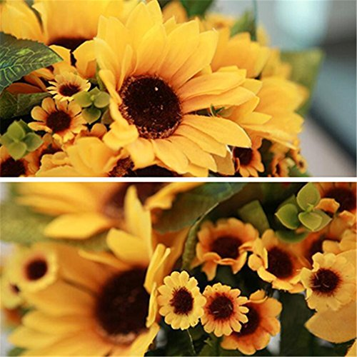 7Köpfe Fake Sonnenblume Künstliche Blume Bouquet Home Raum Floral Decor