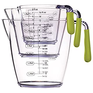 KitchenCraft Colourworks 3 Piece Measuring Jug Set - Green