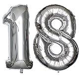 Ouinne Ballon Zahl 18, 40 Zoll Helium Folie Luftballon 18 Geburtstag Folienballon Geburtstag Dekoration Set Riesen Folienballon Fur Party (Silber)