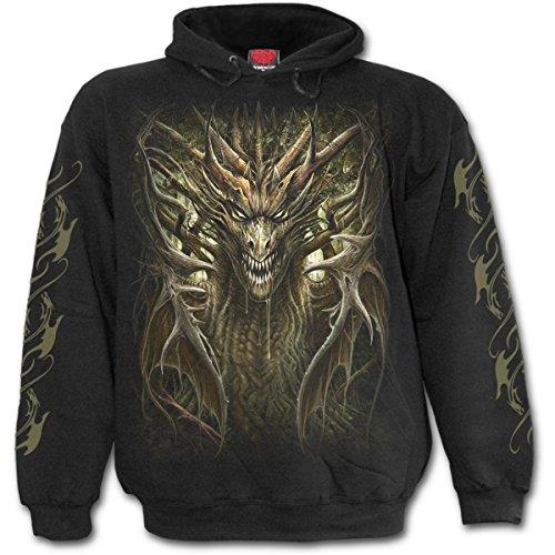 Spirale - DRAGON FOREST - Männer Kapuzenpullover, Schwarz (L) (T-shirt Drache-kunst-dunklen)