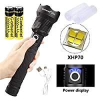 ‏‪XHP70 Flashlight Rechargeable Zoomable Super Bright Torch Light Set‬‏
