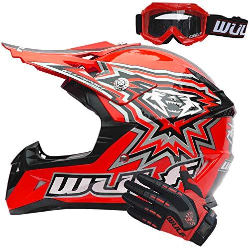 Wulfsport Flite Casco da Bambino Moto Motocross Cross e Off-road Rosso S (47-48cm) Omologato ECE 2205 + Guanti per Bambini (3XS 5cm)+ Occhiali per Bamb