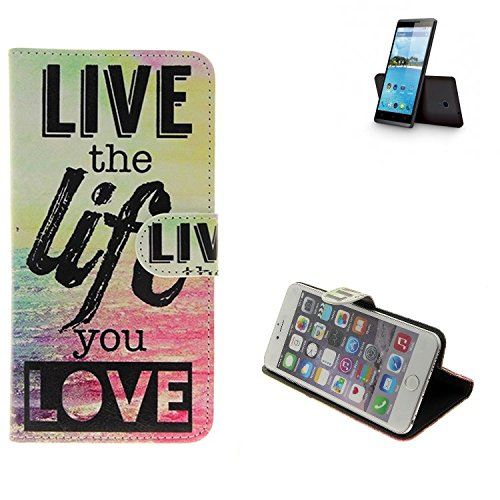 K-S-Trade Für Hisense Sero 5 Schutz Hülle 360° Wallet Case ''live Life Love'' Schutzhülle Handy Tasche Handyhülle Etui Smartphone Flip Cover Standfunktion (1x)