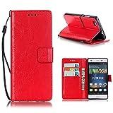 KATUMO® Ledertaschen Huawei P8 Lite, Hülle Premium Book Style Schutz Tasche Portemonnaie Design mit Kartenfach Etui für P8 Lite Handyhülle Schale, Rot