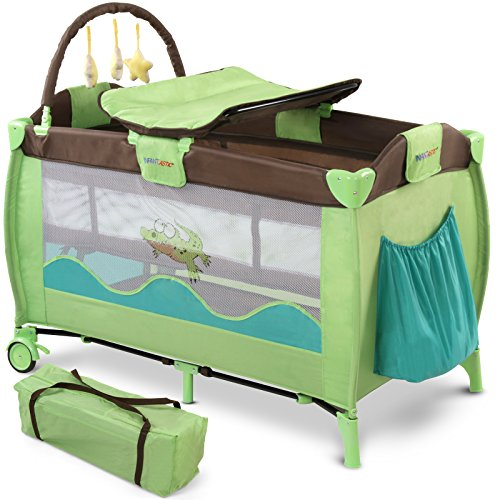 Preisvergleich Produktbild Infantastic Kinderbett (Farbwahl) Klappbett Babybett Laufstall Reisebett Babyreisebett Inkl. Matratze + Zubehör (Jungle Croc)