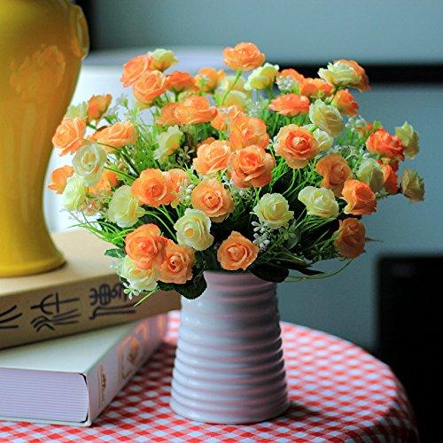 XIN HOME Fake Blume künstliche Blume Set Wohnzimmer Dekoration dekorativ Blume Silk Flower Ornament Dekoration Kunststoff Blumentopf Potted Flower Bouquet, Lila Tri-Color Rose - Bouquet Silk Lila Flower
