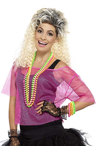 Smiffys Damen Fischernetz Oberteil, Größe: 40-46, Neon Pink, 45192 (Crazy Pink Kostüm)