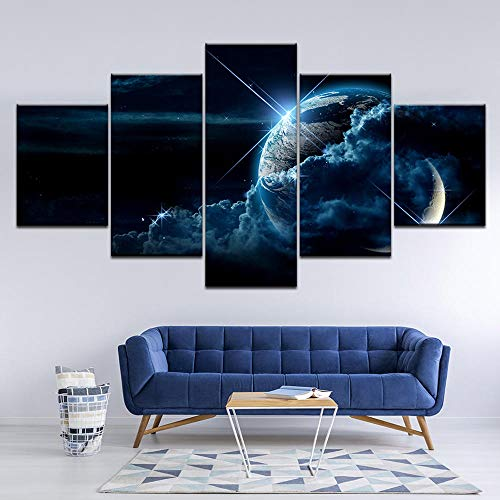 HNBDH Leinwanddrucke 5 Stück Earth View Asteroid Raum Leinwanddruck Malerei Leben Erde Wandkunst Bild Home Decor Wandbild Kein Rahmen (Größe A)