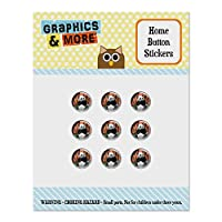 Giant Panda Bear Eating Bamboo Set of 9 Puffy Bubble Home Button Stickers Fit Apple iPod Touch, iPad Air Mini, iPhone 5/5c/5s 6/6s 7/7s Plus