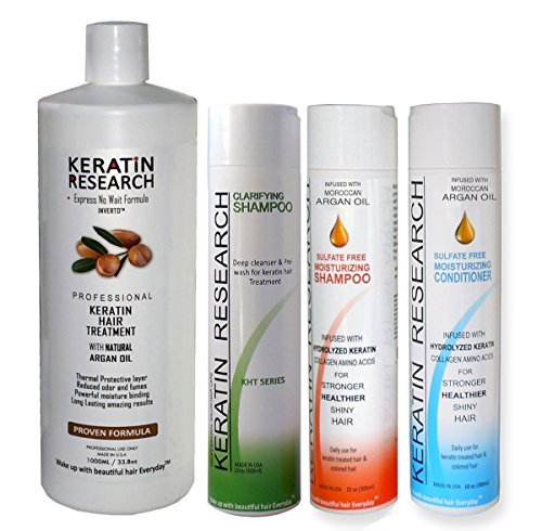 Brazilian Keratin Blowout Straightening Smoothing Hair Treatment 4 Bottles 1000ml Kit Includes Sulfate Free Shampoo Conditioner set by Keratin Research Queratina Keratina Brasilera Tratamiento