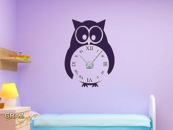 sticker mural décoration avec horloge nombre design chambre d