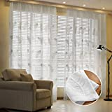 Masterein Feder gestickte Voile Vorhänge für Wohnzimmer Schlafzimmer Gardinen Tüll Fenster Gardinen Stoff drapiert Weiß 2x2.7m