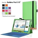 zeadio® Prämie Leder Tasche Hülle Schutzhülle Etui Case Cover mit Ständer für Microsoft Surface PRO 3 (3rd Generation) Windows 8.1 (12 Inch) Tablet - Gr¨¹n