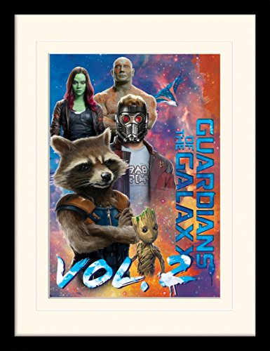 1art1 103627 Guardians Of The Galaxy - Vol. 2, Die Beschützer, Gamora, Star-Lord, Rocket Raccoon, Groot Und Drax Der Zerstörer Gerahmtes Poster Für Fans Und Sammler 40 x 30 (Drax Aus)