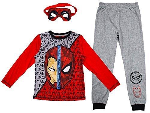 rs Ironman Spiderman Schlafanzüge mit Öse Maske Größen von 2 to 9 Jahre - Mehrfarbig, 4-5 Years (Kinder Iron Man Maske)