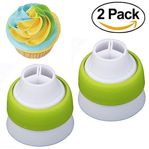 Confezione da 2 3-Color Coupler sac-à-poche 3 fori Russo ugello Converter torta decorazione strumenti, colore: verde
