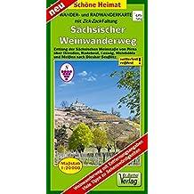 Wander- und Radwanderkarte Sächsischer Weinwanderweg: Entlang der Sächsischen Weinstaße von Pirna über Dresden, Radebeul, Coswig, Weinböhla und Meißen ... (mit Zick-Zack Faltung) (Schöne Heimat)