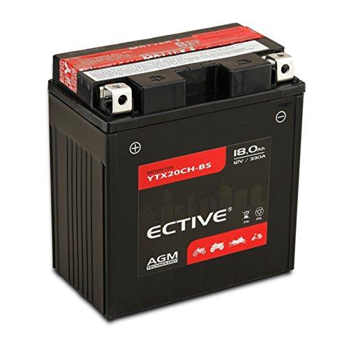 ECTIVE AGM Motorradbatterie | 8-Varianten: 6Ah - 18Ah | 12V Motorradbatterie absolut wartungsfrei | Premium Powersports Motorradbatterie in Erstausrüster-Qualität inkl. Säurepack (YTX20CH-BS 18Ah)
