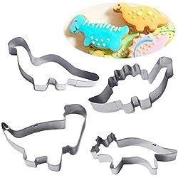 4pcs Moldes de galletas, las plantillas para galletas / cookies / cortador de galletas / pasteles / torta / pasta de azúcar con forma de dinosaurios