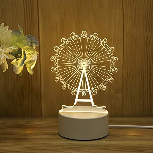 3D Stereo Nachtlicht Plug-in kreative Karikatur Mini Tischlampe Schlafzimmer Nacht einfache Geschenk Licht Riesenrad USB Touch bunten Gürtel Fernbedienung