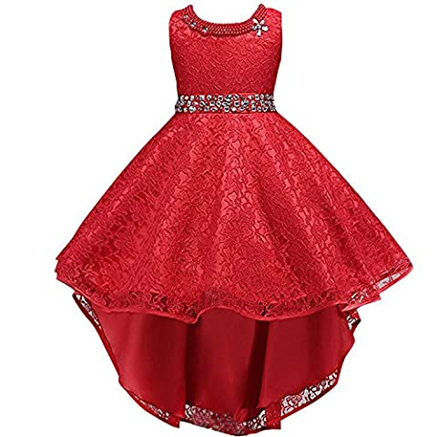 Flower Girls Vintage Overlay Lace Beaded Rhinestone Bridesmaid Wedding Tulle Dresses Party Maxi High Low Ball Gown Pageant Evening Fancy Dance Tutus Princess Dress Red 11-12