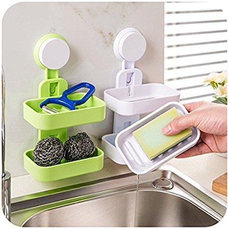 Woogor Plastic Soap Drainer 1 Pc Double Layer Plastic Attachable Vacuum Suction...