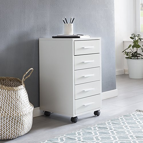 Finebuy Rollcontainer LARA Weiß 33 x 63 x 38 cm Holz Schubladenschrank Schreibtisch | Büro Schrank mit 5 Schubladen | Container Rollschrank klein Standcontainer schmal | Schreibtischcontainer mit Rollen