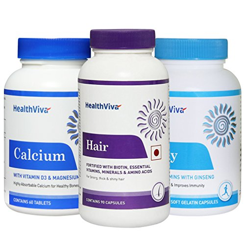 [Sponsored]Healthviva Hair 90 Capsules, Daily 60 Tablets And Calcium 60 Capsules Combo