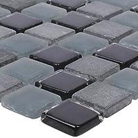Glas-Mosaik auch als Muster erh/ältlich Mosaik-Fliesen Wandfliesen Kieselmosaik Fliesen Xanthos Schwarz Weiss Fliesen-Bord/üre Ideal f/ür den Wohnbereich und f/ürs Badezimmer