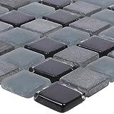 Mosaikfliesen Marmor Glas Mix Kobra Schwarz Grau 15 | Wandfliesen | Mosaik-Fliesen | Glas-Mosaik | Fliesen-Bordüre | Ideal für die Küche und Badezimmer (auch als Muster erhältlich)