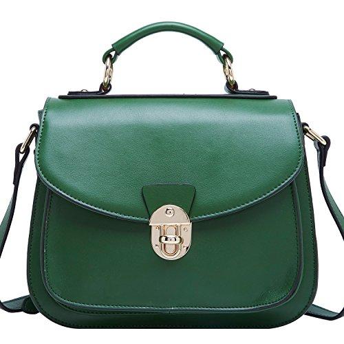 BOYATU Womens Leder Handtaschen Umhängetasche Top Griff Tote Satchel für Damen (Green-B) Grün-B