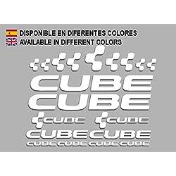 Ecoshirt AJ-K1JS-SMOC Pegatinas Cube F177 Vinilo Adesivi Decal Aufkleber Клей MTB Stickers Bike, Blanco
