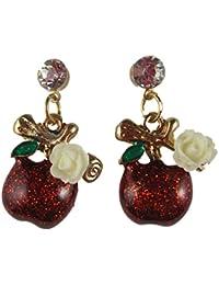 Ohrringe Stecker Ohrstecker Apfel Apple glänzender Enamel Sommer rot Perle Straß