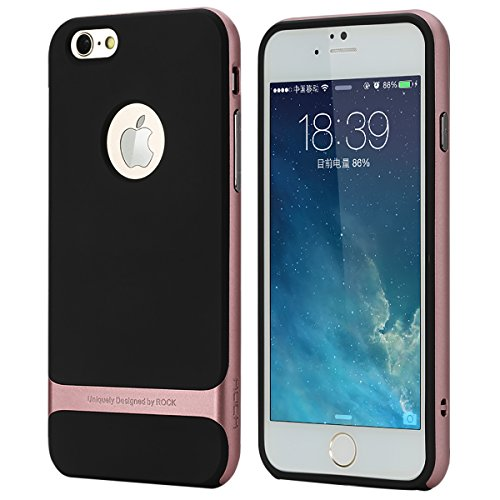 Price comparison product image ROCK iphone 6S Case Metallized Buttons Dual Layer Ultra Tough Shock Proof iphone 6 Case Cover (iphone 6s, Rose Gold)