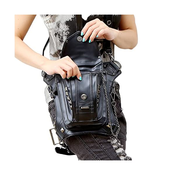 Retro Women MEN Gothic Rock Leather Steampunk Bag Steam Punk Retro Rock Gothic Goth Shoulder Waist Bags Packs Victorian Style for Women Men + leg Thigh Holster Bag DM201605 100% Brand New and High Quality. Adjustable belt design for better fitting body Material : Leather ( PU Leather) Durable material and workmanship to withstand daily wear & tear. 2