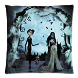 Home Decor Custom Tim Burton's Corpse Bride Pillowcase Cushion Case Covers 16x16 (Twin sides) Zippered Design PillowCases