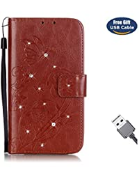 Funda Huawei Honor 5X,Funda Cover Huawei Honor 5X,Aireratze Slim Case de Estilo Billetera Carcasa Libro de Cuero,Carcasa PU Leather Con TPU Silicona Glitter Bling Diamond Butterfly en relieve planta pintura china Case Interna Suave [Función de Soporte] [Ranuras para Tarjetas y Billetera] [Cierre Magnético] para Huawei Honor 5X (marrón) (+ Cable USB)