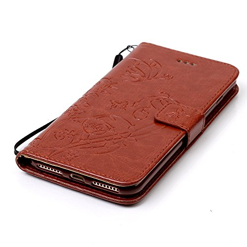Custodia iPhone 7 Plus/iPhone 8 Plus (5.5), EUWLY Protettiva Cover Case in PU Pelle per [iPhone 7 Plus/iPhone 8 Plus (5.5)], Premium Pelle PU Custodia Caso Retro PU Leather Custodia Cover Goffratura Marrone