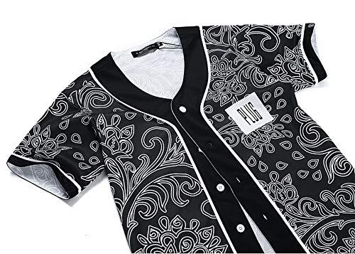 GJCDGPZTX Ankünfte Männer/Frauen 3D T-Shirt Unisex Sommer Tops Print Blumen Schöne Button Hemden Hip Hop Baseball Jersey T-Shirt - Spandex T-shirt Jersey