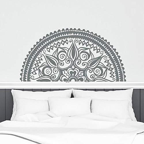 Kunst muster halb mandala wandaufkleber vinyl wohnkultur schlafzimmer yoga mural lotus indischen wandtattoo abnehmbare innenarchitektur wandaufkleber dunkelgrau 114x57 cm (Pferd-gewebe-panel)