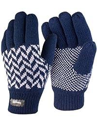 Damen Herren Handschuhe Wasserdicht Gestrickt Thinsulate Futter Thermo R365X - S/M, Marineblau/Grau