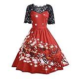 Vectry Weihnachtenkleid Damen Elegant Abendkleid Vintage Weihnachten Party Kleid Mesh Brautkleid Retro Cocktailkleid Rockabilly Minikleid Kleidung