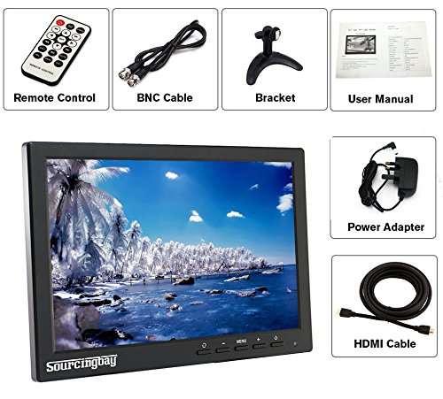 Sourcingbay moveable mini 101 Inch IPS Monitor manage HDMI BNC VGA AV feedback 1280800 HD extensive Color LED display screen utilizing rural with for PC CCTV Camera Monitors