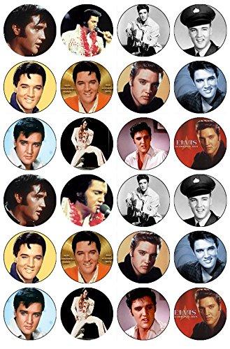 Elvis Presley de 24 décorations en Papier comestible pour gâteaux (Elvis Presley-stoff)
