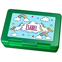 Preisvergleich für Brotdose mit Namen Isabel - Motiv Einhorn, Lunchbox mit Namen, Frühstücksdose Kunststoff lebensmittelecht