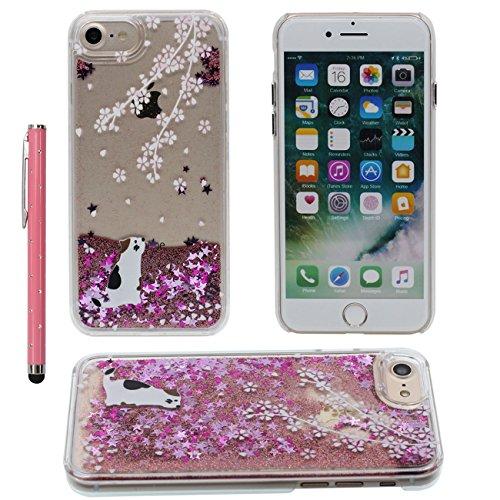 iPhone 7 Plus Liquide Eau Coque, Transparente Dur Étui Protection avec Écoulement Étoiles / Sable Désign pour Apple iPhone 7 Plus 5.5 inch, Crâne noir Motif Case Avec 1 stylet color-4